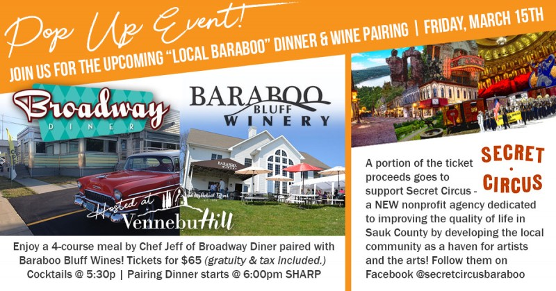 """Local Baraboo Flavor"" Pop-Up Dinner Pairing"